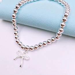 valentines bows UK - Trendy Bow-knot & Round 4mm Bead Bracelets for Women Birthday Valentine Gift S925 Sterling Silver Women Jewelry