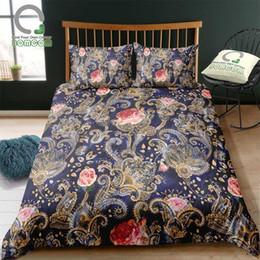 $enCountryForm.capitalKeyWord Canada - BOMCOM 3D Digital Printing Bedding Set Luxury Watercolor Peisley Rose 3-Pieces Duvet Cover Sets 100% Microfiber Navy Blue