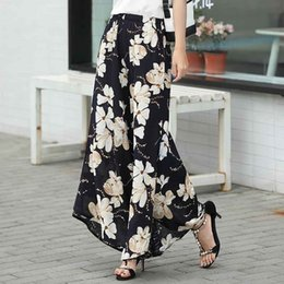 brown linen pants women NZ - 2019 summer runway casual harem flare high waist loose floral Wide leg pants women clothing print Vintage trousers plus size T190829