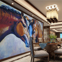 Mural painting wallpaper oil online shopping - Custom Size D Photo Wallpaper Living Room Mural Two Horses Oil Painting Backdrop Picture Mural Home Decor Creative Hotel Study Wallpaper D