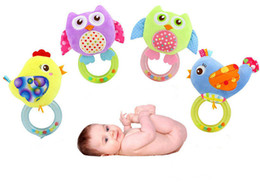 Owl Baby Rattles Australia - New baby Owl Rattle Hand Shake mobile ring bell Plush toy Early Educational Squeaker Soft Baby Toys K0357