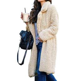 Teddy gold online shopping - Thicken Women Long Coat Faux Fur Jackets Lapel Teddy Cardigan Slim Plus Size Lamb Wool Outwear Fur Coat Winter Woman Coats