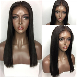 $enCountryForm.capitalKeyWord Australia - 9A Pre Plucked Full Lace Wigs Human Hair With Baby Hair Blunt Cut Peruvian Virgin Lace Front Wig For Black Women Silky Straight