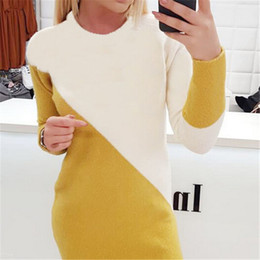 womens sweater dresses Australia - Womens Fall Winter Warm Round Neck Dress Long Sleeve Patchwork Bodycon Knitted Dress Sweater Slim Fit Jumper Knit Short Dresses