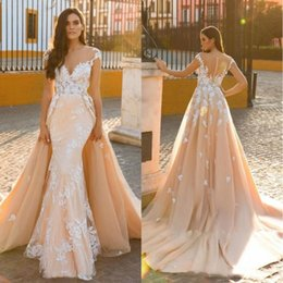 $enCountryForm.capitalKeyWord Australia - Designer Nude Ivory Mermaid Wedding Dresses With Detachable Overskirt Court Train Lace Applique Beaded Sheer Illusion Open Back Bridal Gowns