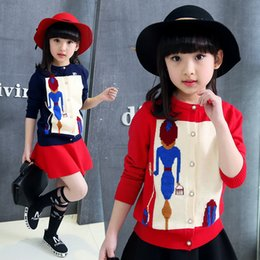 Navy cardigaNs online shopping - Teens Girls Knitted Cardigan Coats Fashion Cartoon Girl Print Pearl Button Sweaters Jacket Red Navy Blue Children s Clothing