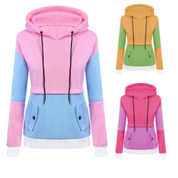 Color Block Drawstring Hooded Tops Pink And Blue Pullovers Women Long Sleeve Patchwork Sweatshirt New Size S-XL