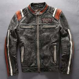 $enCountryForm.capitalKeyWord Australia - 2017 Avirex fly leather jackets American customs motor spirit Indian head Embroidery vintage motorcycle jackets