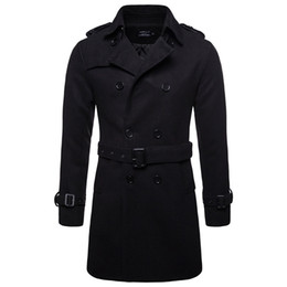 mens black double breasted trench coat Canada - Winter Men Wool Pea Coats Black Mens Overcoat Short Trench Coats Male Double Breasted Pea Coat High Quality Wool Clothing