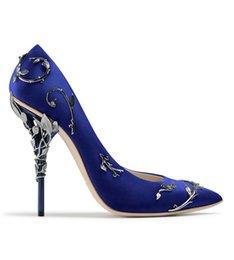 Verziertes Metall Filigrane Blattdekoration Damen Pumps Mehrfarbig Elegante Damen Schuhe Stöckelabsatz Braut Hochzeit Sommer Schuhe im Angebot