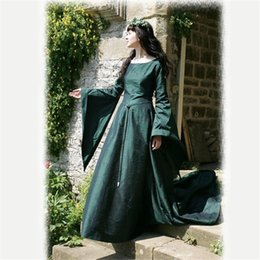 renaissance costumes for women Australia - Large Size S-5XL Adult Women Elegant Medieval Vintage Floor Dresses Costume Slim O Neck Retro Classical Party Dress For Ladies