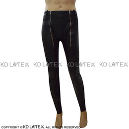 Latex Leggings NZ - Black Sexy Latex Leggings With Zippers And Buttons Open Holes Long Rubber Pants Jeans Trousers Bottoms 0053