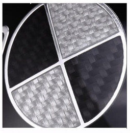 High quality 3D Carbon Fiber Black White Car Engine Emblem Front Rear Badges 73mm 82mm For 3 5 7 X1 X3 X5 on Sale
