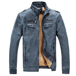 Mens Faux Fur Lining Jacket NZ - 2019 new Mens Leather Jacket Men Winter Casual Thicken Fleece Leather Coat Size M-xxxl Dropshipping good quality
