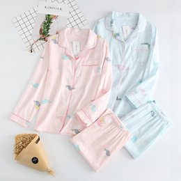 $enCountryForm.capitalKeyWord Australia - Spring and Autumn Day cotton double-layer gauze ladies long-sleeved pajamas set Japanese home service air-conditioning suit cute Dolphin