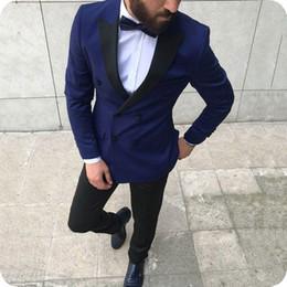 $enCountryForm.capitalKeyWord Australia - Royal Blue Men Suits for Wedding Groom Tuxedos 2Piece Black Peaked Lapel Man Blazers Costume Homme Male Outfits Slim Fit Terno Masculino