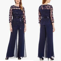 $enCountryForm.capitalKeyWord Australia - Fabulous Lace Dark Blue Mother Pant Suits 3 4 Long Sleeve Chiffon Bateau Neckline Mother Of The Bride Dresses