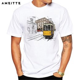 $enCountryForm.capitalKeyWord Australia - AMEITTE Creative 3d Animation tram T-Shirt Men's Cartoon Cable Car Print T Shirt High Quality Hipster Cool Male Tops Tee