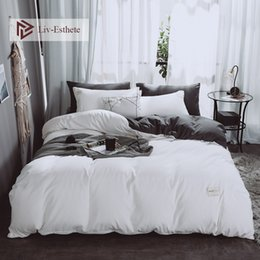 $enCountryForm.capitalKeyWord NZ - Liv-Esthete A White B Gray Luxury Bedding Set Home Soft Duvet Cover Flat Sheet Bed Linen Bedspread Double Queen King For Adult