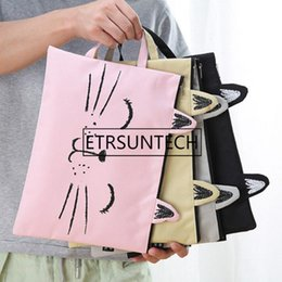 $enCountryForm.capitalKeyWord Australia - Large Cute Cat Zipper Canvas Bag Student Stationery Cartoon Paper Receiving Bag Handbag A4 Paper Zipper Handbag LX2174