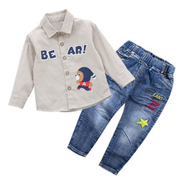 $enCountryForm.capitalKeyWord NZ - Kids Clothes 2018 Autumn Fashion Toddler Boys Cotton Long Sleeve Shirt+Jeans Clothing Set Gentleman Suit for Boy 1 2 3 4 5 Years