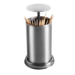 $enCountryForm.capitalKeyWord UK - Storage Case Restaurant Press Durable Dispenser Cotton Swab Automatic Kitchen Toothpick Holder Stainless Steel Accessories Box