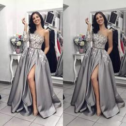 $enCountryForm.capitalKeyWord Australia - 2019 Silver Grey Split Prom Dresses One Shoulder Long Sleeve Lace Applique Women Black Party Evening Wear Pageant Gowns vestidos de gala