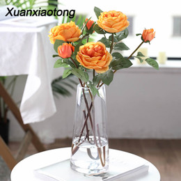 $enCountryForm.capitalKeyWord Australia - Xuanxiaotong 1pcs Real Touch Yellow Silk Roses Branches Long Stem Artificial Flowers for Wedding Decoration Fall Home Decor