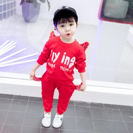 Wings Children Set Australia - 2019 Spring Autumn Baby Boys Clothes T-shirt And Pants 2Pcs Cotton Girls Suits Children Clothing Sets+Kids Flying Winged clothes