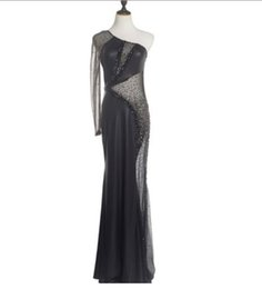 Coral Beads China Australia - One Shoulder Bead Mermaid Design Black Sexy Designer Long Evening Dress in China High Quality Fast Shipping KoreanTransparent Evening Dress