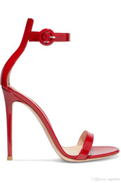 $enCountryForm.capitalKeyWord UK - 2019 hot summer one strap open toe ladies sandals sheepskin patent leather high heel sandals banquet party dress shoes nude red color
