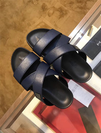 Hot Flops Sandals NZ - Hot Sale in 2019 Designer Rubber slide sandal men flip flops slipper Black Blue causal slippers Beach sandals with Original Box US 6-11