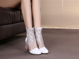 $enCountryForm.capitalKeyWord Australia - 2019 new leather high heel hollow out female the spring and autumn period and the net lace thick with short boots boots