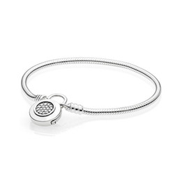 smooth silver snake chains UK - New 925 Sterling Silver Moments Smooth Signature Padlock Bracelets & Bangles Fit European Charm Beads For Women Gift Diy Jewelry