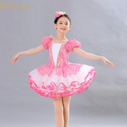 df9aba39b9 Girl Pink Tutu Ballet Dress Princess Dress Professional Ballet costume  Women Short long sleeve Sequins Dance For Children