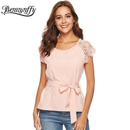 Shirts Wear Lace Shorts Australia - wholesale Lace Short Sleeve Solid Chiffon Belted Blouse Shirt Women Tops Summer Ladies Casual Office Wear To Work Elegant