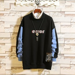 sweatshirt buttons neck NZ - 2019 M-2XL Men's Autumn Winter Casual Fashion Print Long Sleeved Button Tops O-Neck Cool Sweatshirt Drop Shipping July30
