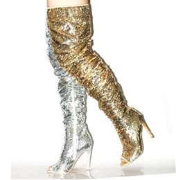 $enCountryForm.capitalKeyWord UK - High Quality Bling Bling Glitter Over The Knee Boots Womens Peep Toe Sequin Tight High Boots Zipper Paillette Winter Long Boots