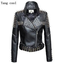 Studded jacketS online shopping - Luxury New Autumn fashion women rivet motorcycle PU faux leather spike studded jacket outerwear streetwear jackets