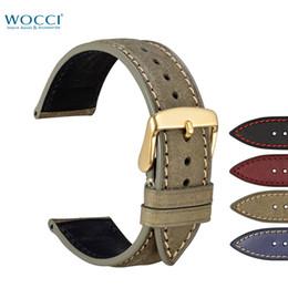$enCountryForm.capitalKeyWord NZ - WOCCI Nubuck Leather Watch Bands Casual Wristwatch Strap Bracelet With Golden Buckle Lugs Install Remove Tool Watchband Width 18 20 22mm