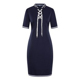 Wholesale 6XL Womens Summer Casual Dress Stand Collar With Ribbon Pencil Dress Fashion Designer Panelled Dress