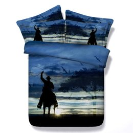cool bedding Australia - 3D cool cowboy Duvet Cover Bedding Sets Bedspreads Holiday Quilt Covers Bed Linen Pillow Covers Blue Coverlets Cotton Polyester NO Comforter