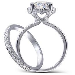 $enCountryForm.capitalKeyWord UK - Center 2.5 Carat F Colorless Round Cut Moissanite Engagement Wedding Ring Set Lab Diamond Accents Solid 14k Women 2 Pieces Y19032201