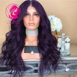 Discount pretty brazilian human hair - Fantasy Deep Purple Full Lace Human Hair Wigs Pretty Wavy Brazilian Remy Hair Transparent Lace Wig Pre Plucked with Baby