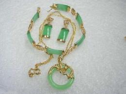 $enCountryForm.capitalKeyWord Australia - Prett Lovely Women's Wedding Noblest Green gem GP Bracelet Pendant Necklace Earring Set 5.23 silver jewelry boucle