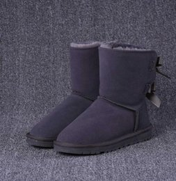 Discount ribbon round buckle - 2020 hot new winter Australia Classic snow Boots High Quality WGG tall boots real leather Bailey Bowknot women's ba