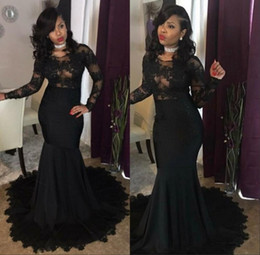 $enCountryForm.capitalKeyWord NZ - Sexy Mermaid Prom Dresses 2019 Burgundy Lace Elegant Long Sleeves Party Formal Dresses Long Evening Dresses Gowns