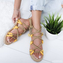 $enCountryForm.capitalKeyWord Australia - Women Weaving Sandals Hemp Rope Toe Beach Slippers Casuals Cross Tied Sandals Flat Vintage Harajuke Lace-Up Bandage New