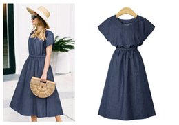 $enCountryForm.capitalKeyWord NZ - XL-5XL Plus Size Dress Short Sleeve for Women Hot Sale Round Collar Elastic Waist Midi Dress Fashion Casual Denim Dress