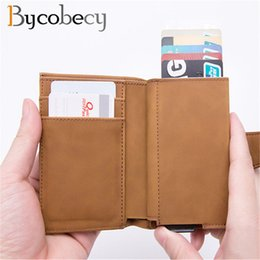 Credit Card Holder Rfid Blocking Money Wallets Button Locking Slim Leather Card Herren-accessoires
